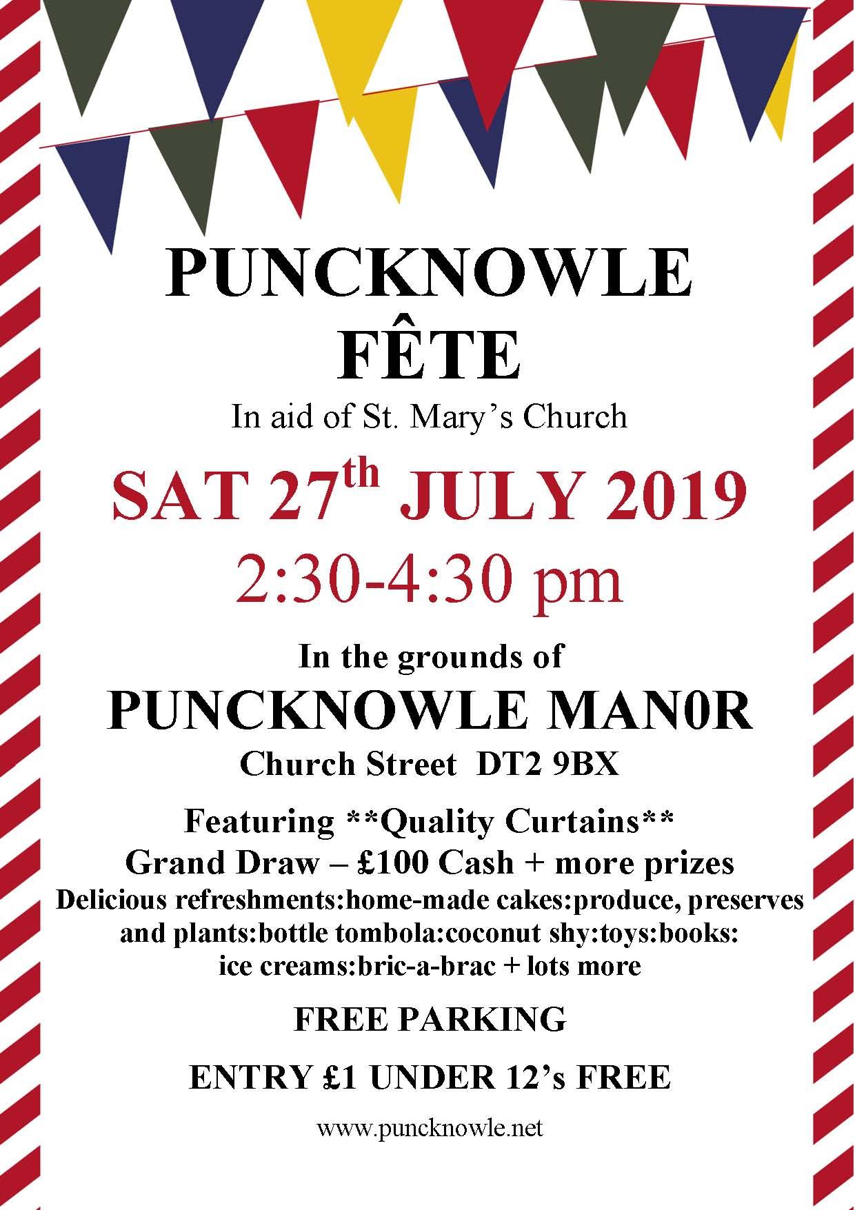 Puncknowle Fete 27 July 2.30pm @ Puncknowle Manor Estate